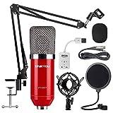 ZINGYOUコンデンサーマイクバンドル、ZY-007プロフェッショナルカーディオイドスタジオコンデンサーマイク、調整可能なサスペンションシザーアームスタンド(ショックマウント付き)、録音および放送用ポップフィルター