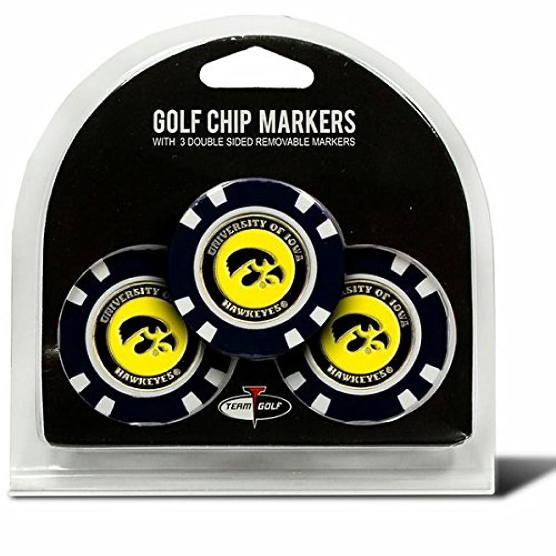真空電報ロデオSet of 3アイオワ大学ホークアイズPoker Chips with removableゴルフボールマーカー