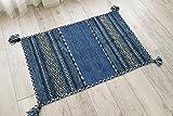 インドキリム 玄関マット ブルー 50x80cm 室内屋内用 アジアン エスニックデザイン 幾何学模様 輸入カーペット