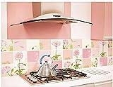 [POWIITEM] アルミニウム キッチンステッカー おしゃれに 防火 防汚! [ポイント付き] (ピンク お花)