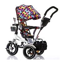 6ヶ月から6歳までの折りたたみ式の子供用三輪車4インチ1の男の子および女の子用カート (色 : C)