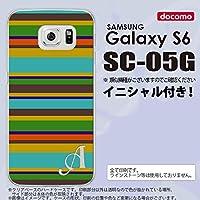 SC05G スマホケース Galaxy S6 カバー ギャラクシー S6 イニシャル ボーダー ターコイズ nk-sc05g-702ini V