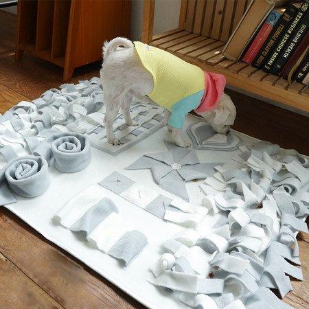 子犬ペットノーズワーク/分離不安訓練毛布/ストレス解消/集中力向上/孤独な子犬/鼻おもちゃ/犬 おもちゃ[並行輸入品] (中大型, mix pastel)
