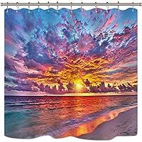 サンセットサンライズシャワーカーテンロマンチックなビーチオレンジ太陽光線シーサイドオーシャンウェーブブルースカイ沿岸装飾ファブリックセットポリエステルインチ12パックプラスチックフック 165X180 CM