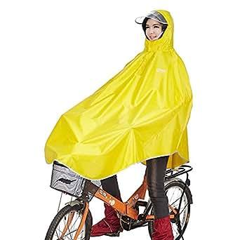 レインコート 自転車 バイク ロング ポンチョ 男女兼用 通勤通学 フリーサイズ 軽量 完全防水 収納袋付き (イエロー)