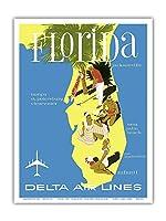 フロリダ、アメリカ合衆国 - ゴルフ - スキューバダイビング - 日光浴 - デルタ航空 - ビンテージな航空会社のポスター Unknown - アートポスター - 23cm x 31cm