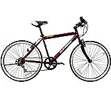 【KYUZO】クロスバイク KZ-107 26インチ(26*1.50HE)シマノ6段変速 自転車 (ワインレッド)