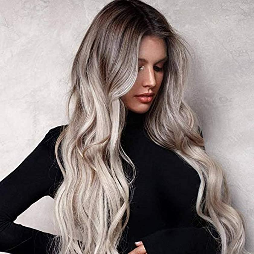 試してみる第二通り抜けるかつらキャップロングウィッグでかつら女性のためのかつら高品質な人工毛髪コスプレ高密度かつら25.6インチv
