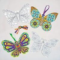 ちょうちょ ぬりえ オーナメント カード(8枚入り)子どもたちのアクティビティに、夏のイベント、パーティのディスプレイに 蝶 バタフライ