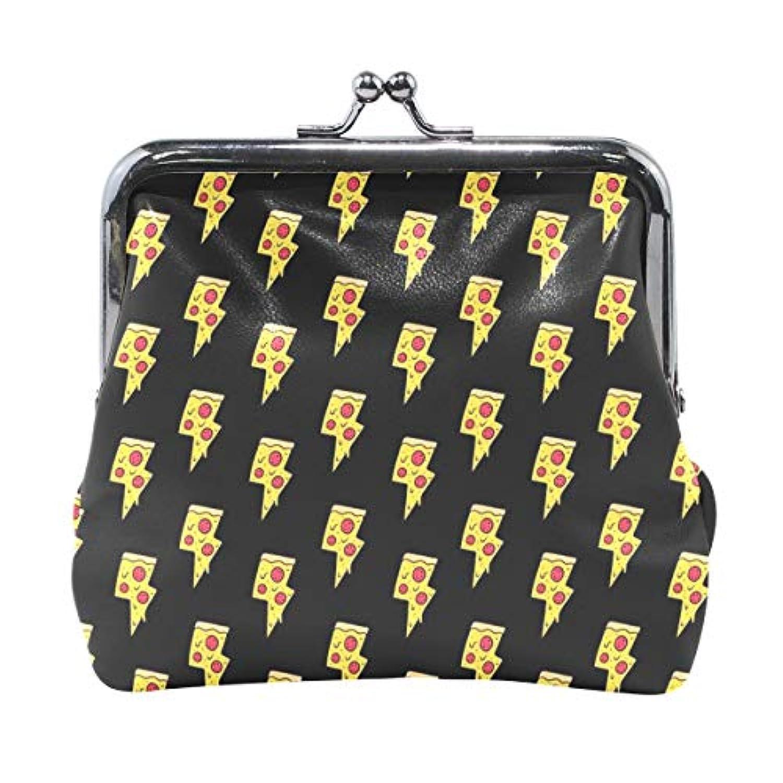 がま口 小銭入れ 財布 ピザの雷 コインケース レザー製 丸形 軽量 人気 おしゃれ プレゼント ギフト 雑貨
