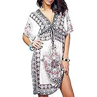 Vbiger Bikini Cover up Deep V-Neck Summer Beach Dress Sexy Beachwear Vocation Dresses