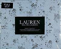 Lauren Ralph Laurenフルシートセットトープベージュブラウンタンフローラルパターンonホワイト