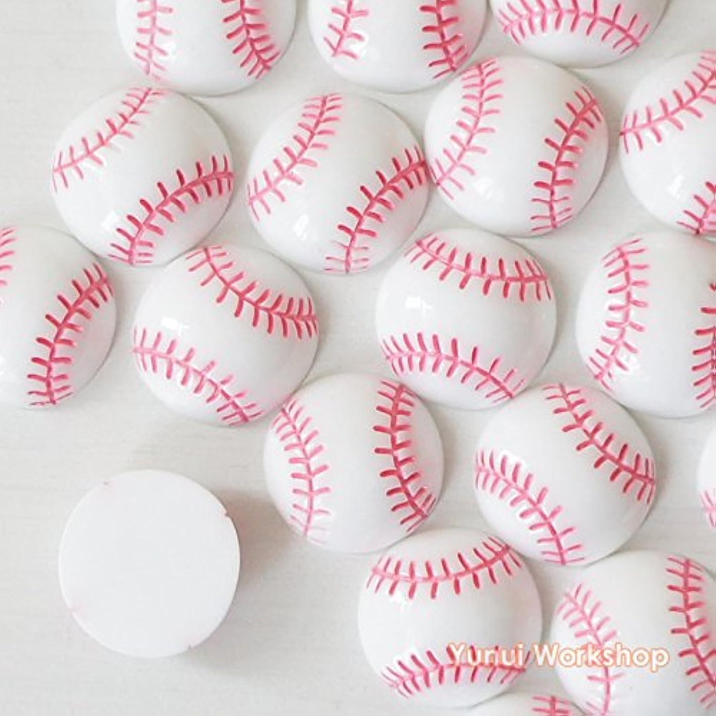 無一文現実的前に【野球ボール?6個】24mm x 24mm?デコ用?デコパーツ?カボション?レジン?手作り?手芸?DIY?材料?小物?装飾用