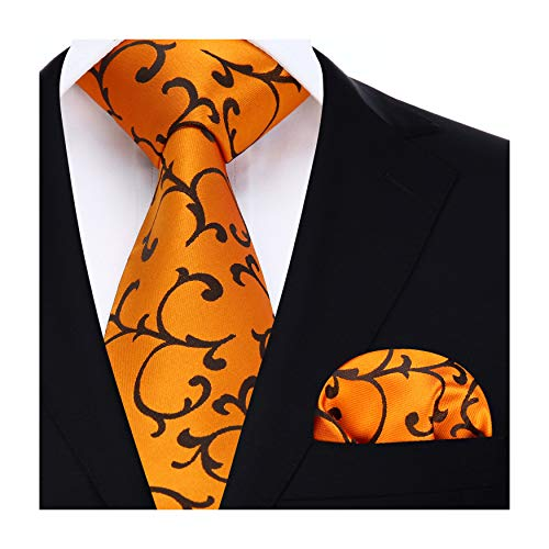 おしゃれ ネクタイ セット ビジネス メンズ 結婚式 ネクタイ チーフ セット フォーマル ネクタイ 高級 礼服 メンズ オレンジ ネクタイ ブランド プレゼント 男性 by ヒスデン(HISDERN)
