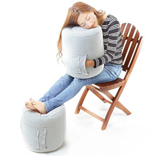 (エトラ)ETOLA 抱き枕 肘置き フットレスト オットマン 簡易チェア エアーピロー 5WAY 旅行や長距離移動の便利アイテム 小さく畳める 収納ポーチ付 Mサイズ