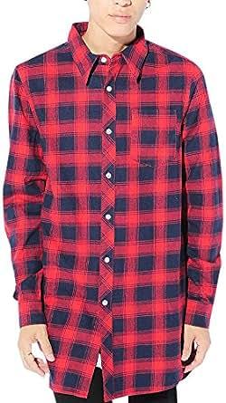レッド M (ベストマート)BestMart チェックシャツ ネルシャツ 長袖 ストリート系 ロング丈シャツ 長袖 メンズ オックスフォード ブロード きれいめ 無地 丈長い 丈長めtシャツ ビッグシルエット モード 621361-005-803