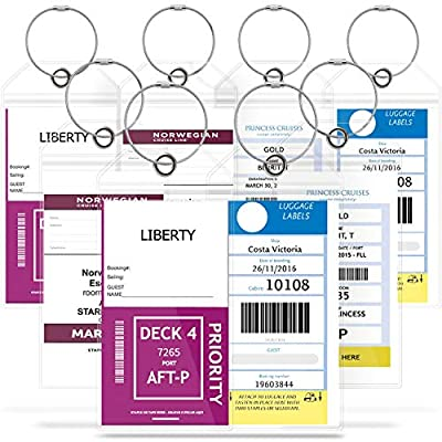 GreatShield Cruise Luggage Tag Holder with Zip Seal & Steel Loops, Weather Resistant PVC Pouch