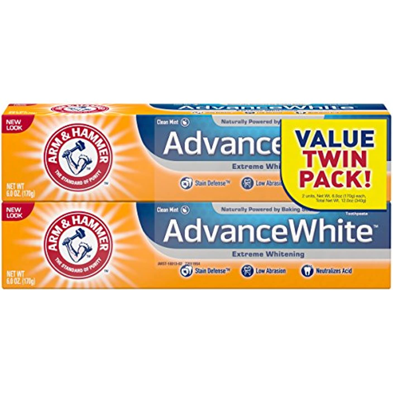 探検地震皿Arm & Hammer アーム&ハマー アドバンス ホワイト 歯磨き粉 2個パック Toothpaste with Baking Soda & Peroxide