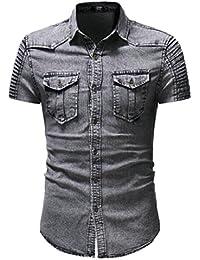 Keaac メンズスリムフィットショートスリーブボタンダウンシャツカジュアルデニムシャツ