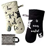 Warome Oven Mitts-Oven Gloves, Heat Resistant up to 464 °F Kitchen Mitts,Ivory and Black Cat Kitchen Potholder,Soft Cotton Lining Surface,Perfect for Kitchen/Grilling/Cooking,Baking,BBQ