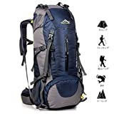 Meily 登山用リュック ナップザック スポーツバッグ 50L 防水 軽量 登山 ハイキング トレッキング キャンプ レインカバー付き (ディープブルー)