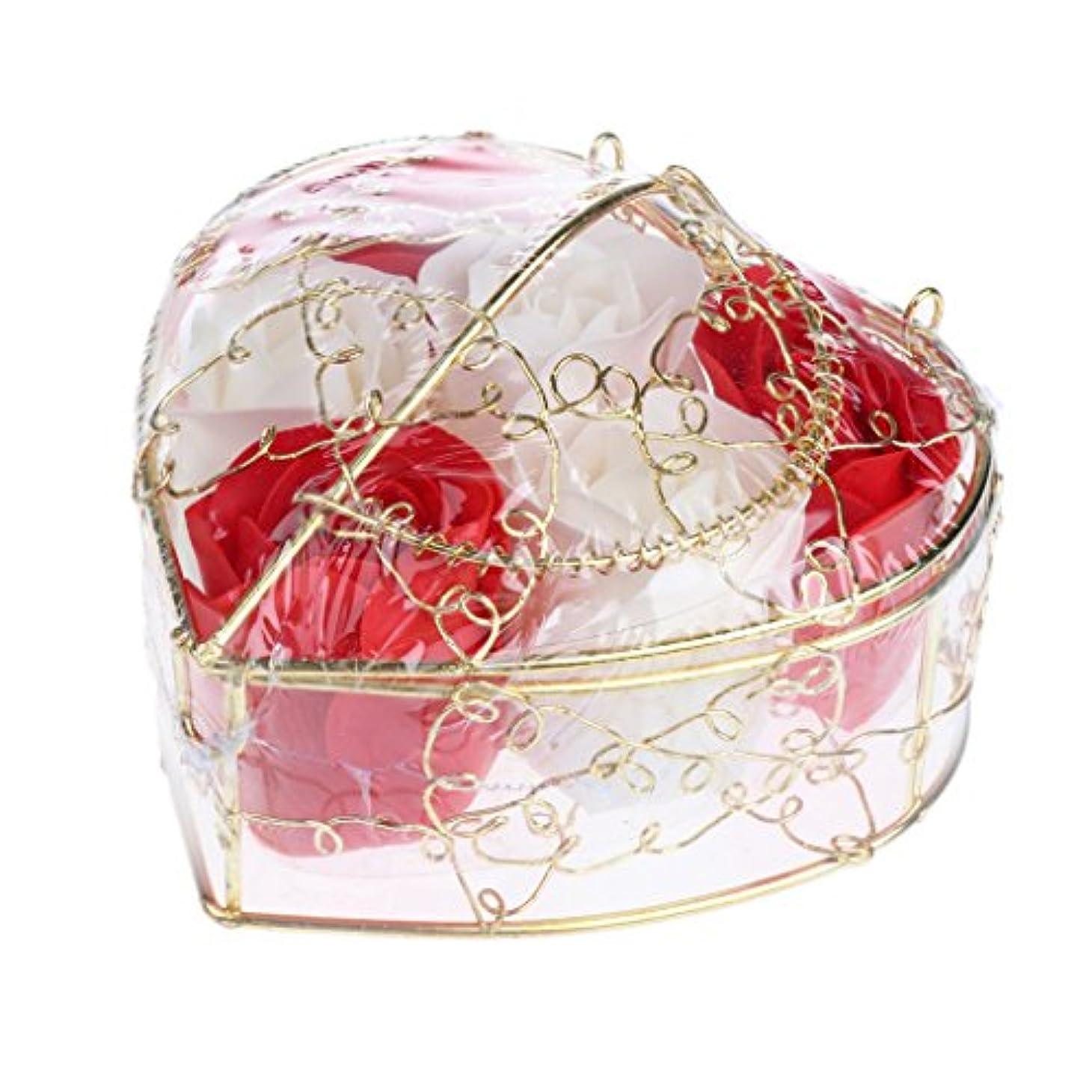 Perfk 6個 石鹸の花 石鹸花  造花 フラワー バラ ソープフラワー  シャボンフラワー  フラワーボックス プレゼント 全5タイプ選べる - 赤と白