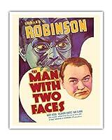 """""""The Man with Two Faces"""" - Edward G. Robinson & Mary Astor - 監督 Archie Mayo - ビンテージなフィルム映画のポスター c.1934 - アートポスター - 41cm x 51cm"""