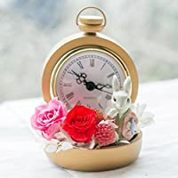 プリザーブドフラワー ギフト 不思議の国のアリス 白うさぎの時計プリザ