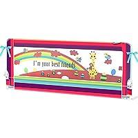 ZR- ベビーベッドガードレール\フェ??ンスチャイルドベッドサイドフェンス大きなベッドベット3つのバーバッフルシートベルト付き 150\180\200cm (色 : Red -200cm)
