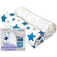 100% Organic Cotton Swaddle Blanket & Stroller Clip Set - Extremely Soft & Breathable - Use As a Swaddle Receiving Blanket, Nursing Cover or Stroller Cover - Make Great Baby Shower Gifts! by My Tiny Tot