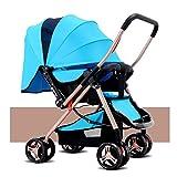 Homehalo ベビーカー 両対面 ベビーバギー 折りたたみ 大型幌 通気性良い 買い物かご付き 対象 新生児~36ヶ月 (ブルー)