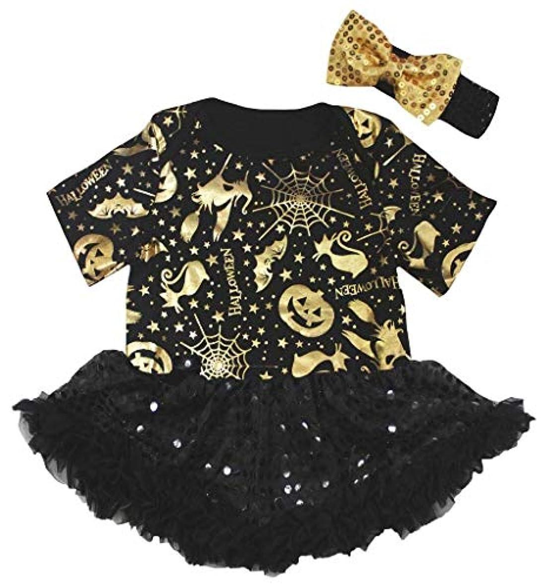 アクセシブルティッシュシーン[キッズコーナー] ハロウィン プレーン ブラック ゴールド パンプキン 子供ボディスーツ、子供のチュチュ、ベビー服、女の子のワンピースドレス Nb-18m (ブラック, X-Large) [並行輸入品]