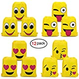 Konsait Emoji Bags for Emoji Party Supplies(12Pack), Emoji Drawstring Backpack Shoulder Bag Bulk Assorted Emoticon Party for Boys Girls Kids Birthday Candy Baby Shower Emoji Party Favors Gift