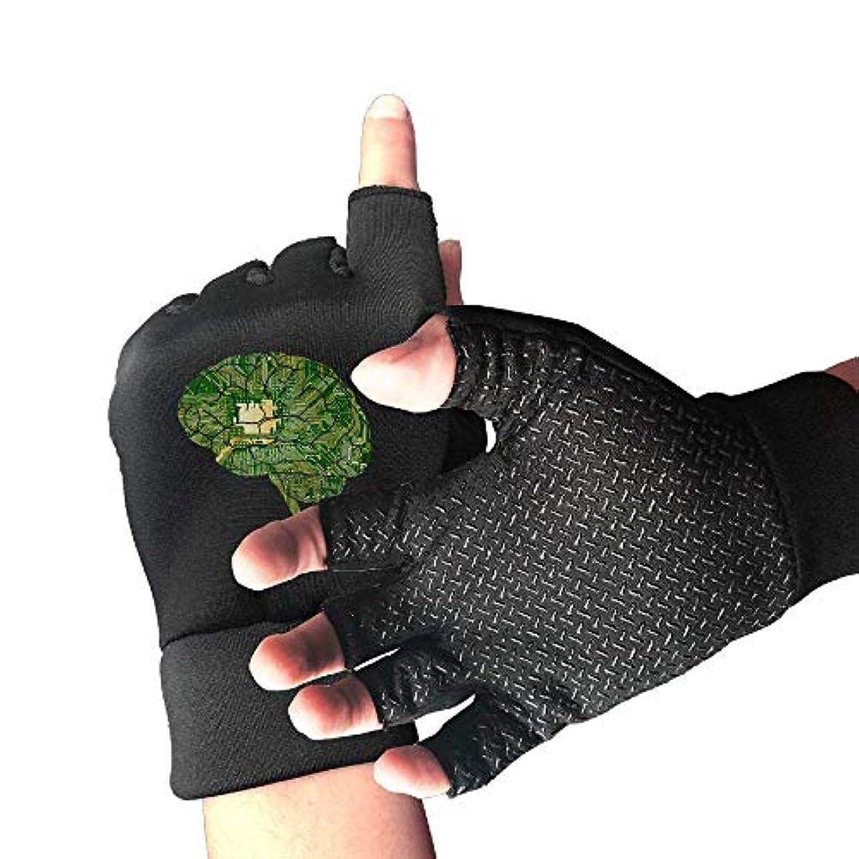 ランドマーク秀でるぎこちないCycling Gloves Brain Clip Men's/Women's Mountain Bike Gloves Half Finger Anti-Slip Motorcycle Gloves