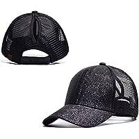 Timmz Ponytail Cap High Bun Ponycaps Glitter Mesh Trucker Plain Baseball Visor Cap Dad Hat with Adjustable Straps