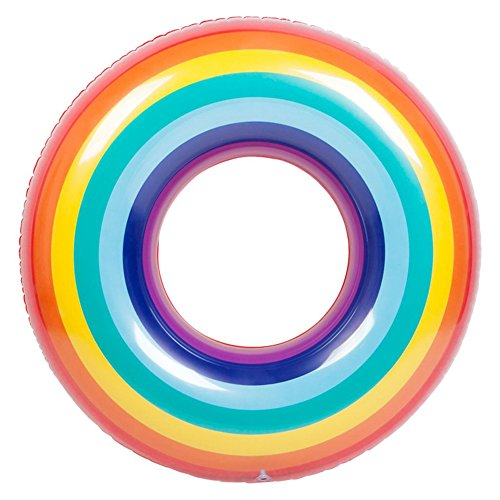 [해외]Liebeye 플로팅 링 성인 | 어린이 안전 풍선 수영 반지 화려한 무지개 디자인 플로팅 라이프 부표/Liebeye floating ring adult | child safety inflatable swimming ring colorful rainbow design floating life buoy