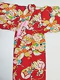 (ノーブランド品)4420 【中古】 子ども着物 綿入れ 女の子用 正絹 深赤地に花、てまり、鶴模様 ランクA