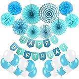 誕生日装飾、cocodeko Happy誕生日バナー、紙ポンポン、吊り下げ紙ファンセットと20個のすべてのバルーン誕生日パーティーデコレーション – ブルー、スカイブルーとホワイト