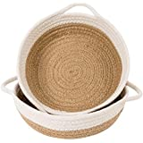 Goodpick 2pack Cotton Rope Basket - Woven Storage Basket - 9.8 x 8.7 x 2.8 Small Rope Baskets for Kids Home Decor Toy Basket