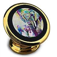 抽象的なビンテージ水彩アフリカゾウアート絵画 車載ホルダー 磁気携帯電話カーホルダー 360度回転 落下防止 取付け簡単 高級感 おしゃれ スマホスタンド ユニバーサルタイプ