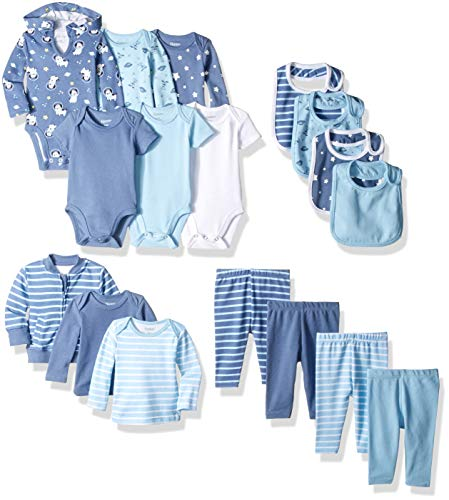 Hanes Ultimate Baby Baby-Boys BFCOOL Flexy - 17 Piece Cool Weather Essentials Set Layette Set - Multi - 6-12 Months