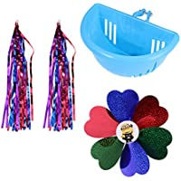 LIOOBO 3PCS Kids Children Scooter Bike Handlebar Colourful Streamers Flower Pinwheel Windmill Basket Baby Carrier Accessories (Blue)