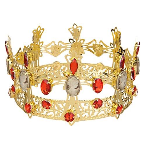 【ノーブランド 品】王冠  ティアラ  女王  結婚式 パーティー 髪飾り  ジュエリー  アクセサリー ファッション レッド
