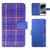 whitenuts Huawei Ascend P2 ケース 手帳型 タータンチェック ブルー×ブルー スマホケース ファーウェイ アセンド ピーツー 手帳 カバー 全機種対応 WN-OD144689_ML