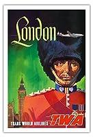 イギリス ロンドン - TWA (トランス・ワールド航空) - ロイヤルガード - ビンテージな航空会社のポスター によって作成された デイヴィッド・クライン c.1950s - アートポスター - 76cm x 112cm