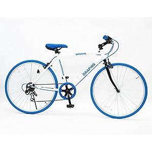 GRAPHIS(グラフィス) クロスバイク 26インチ 6段変速 可動式ステム クイックレリーズ ホワイト/ブルー GR-001
