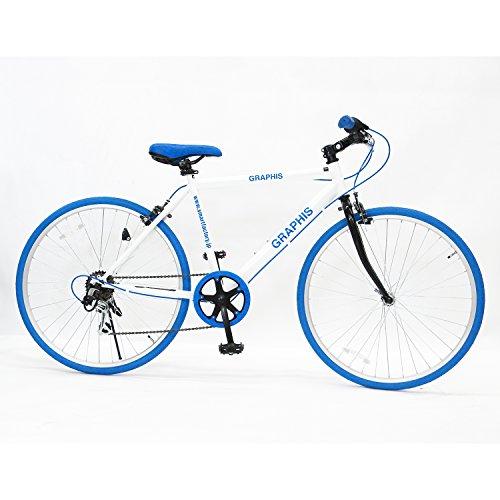 GRAPHIS(グラフィス) クロスバイク 24インチ 6段変速 可動式ステム クイックレリーズ ホワイト/ブルー GR-001J