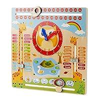 Perfk 多機能 漫画木製カレンダー 教育玩具 子供幼児 時計おもちゃ 玩具