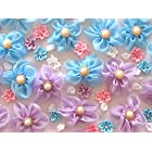 usausaのお店 福袋 造花 大きいお花がたくさん入った ブルーとパープルのフラワーモチーフ・パーツ・アップリケ・ローズ いろいろ 100個セット(約13mmから70mm)