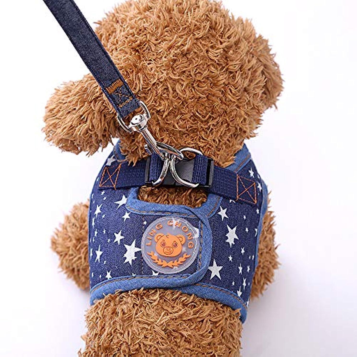 熱帯のデザートバズMen club 1ピースペットベストハーネスリーシュペットチェストハーネスリードロープ犬ハーネスベスト屋外使用に適したブルークリエイティブで便利